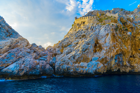 View on rock and sea from seaside in Alanya, Turkey Stock Photo