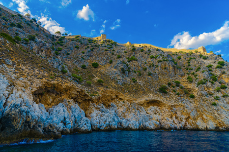 Ancient Alanya fortress on high rock by sea, Turkey