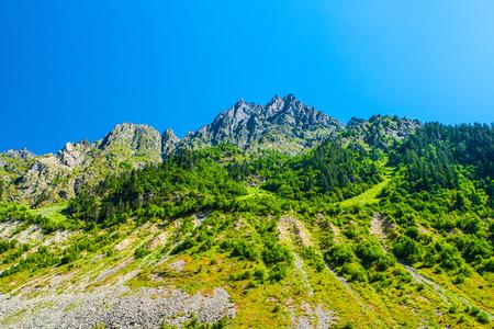 ushguli: Mountain landscape. Caucasus, Svanetia, Ushguli, Ushba, Georgia. Stock Photo