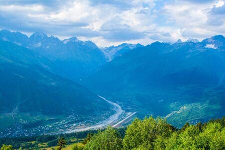 Mountain landscape. Caucasus, Svanetia, Ushguli, Ushba, Georgia. Stock Photo