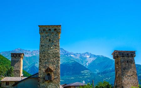 mestia: The old towers in Svanetia, Mestia, Georgia. Stock Photo