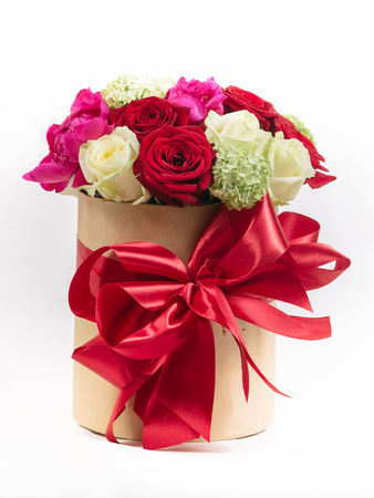 gift box with colorful roses on Valentines day holiday Reklamní fotografie