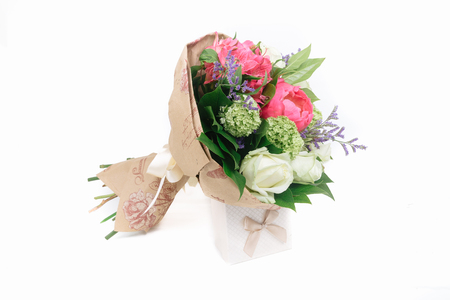 alstroemeria: bouquet of peonies, roses and alstroemeria on white background