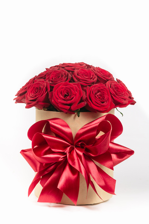 bunch of red roses: gift box with colorful roses on Valentines day holiday Stock Photo