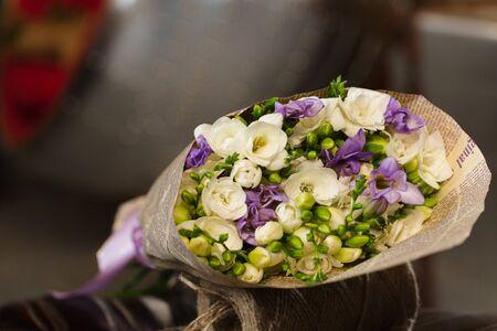 Flowers bouquet of fresia in interior Reklamní fotografie