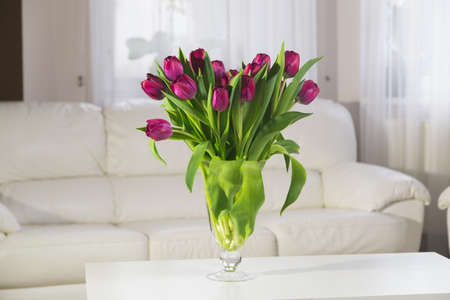 Bouquet of pink tulips in a glass vase on a white background