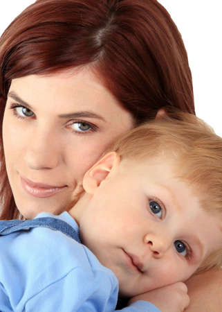 Portrait of young mum with the beautiful small son Stock Photo - 2876650