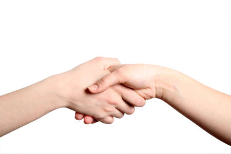 Hand shake on white isolated a background Stock Photo