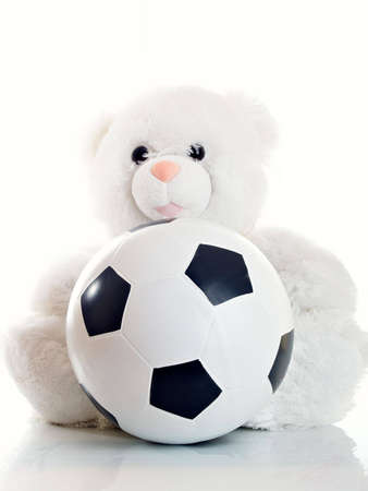 childishness: Soft toy white ������� with a ball