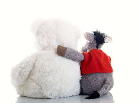 careless: Composition from two soft toys on a white background