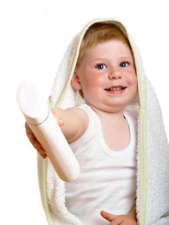 ni�o con una toalla y champ� Foto de archivo - 4982455