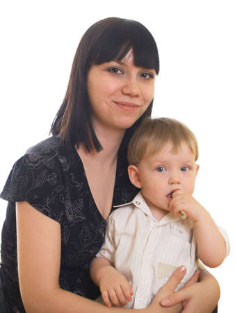The little boy with mum on the white background Stock Photo - 5140806