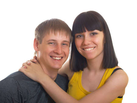 Portrait of young happy pair on a white background Stock Photo - 5140791