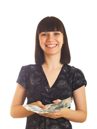 The young girl holds in hands Russian money for a white background Stock Photo - 5177827