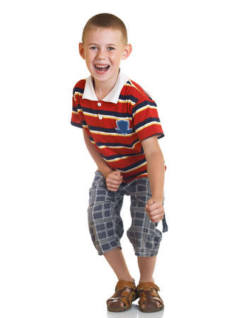 in readiness: The boy represents readiness for active actions Stock Photo