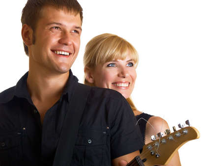 Happy pair - the guy with a guitar photo