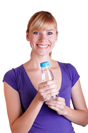 Young girl with bottle of water on isolated  photo