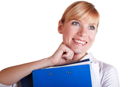 The businesswoman with a folder for papers in hands on a white background