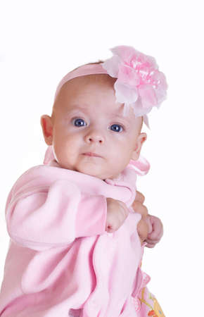 The picture of adorable baby girl over white