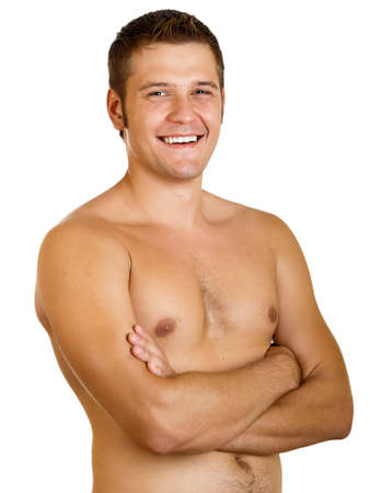Young happy muscular man isolated on a white background