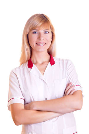 The nurse in a white dressing gown on the white background photo