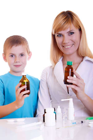 meningococcal: The boy on reception at the doctor Stock Photo