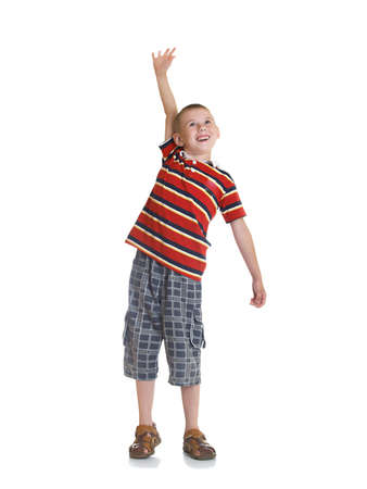 The boy represents readiness for active actions Stock Photo
