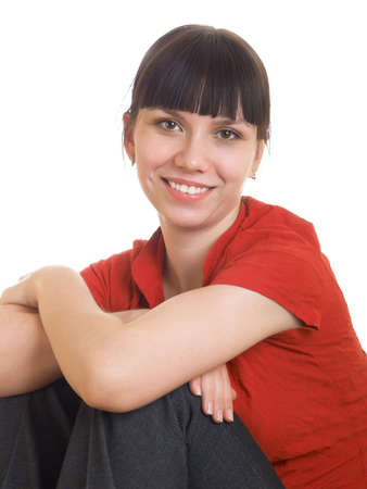 Portrait of a smiling girl in a red shirt Stock Photo - 6401381