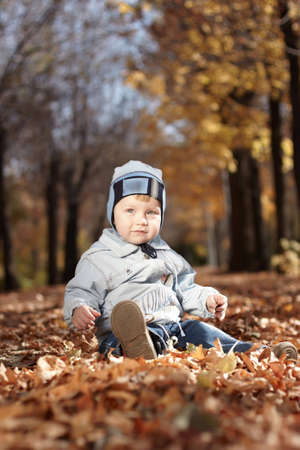 The little boy on walk in park on a background of yellow leaves