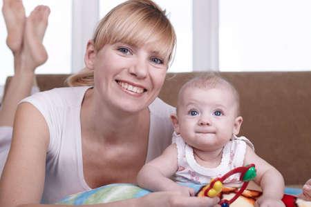 new medicine: Portrait of the newborn child near to mum