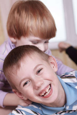 closeup portrait of two little boys Stock Photo - 6563099