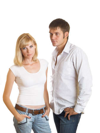 Quarrel between men and women on the white background Stock Photo - 6563045