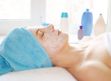 face of women getting a spa treatment  Stock Photo