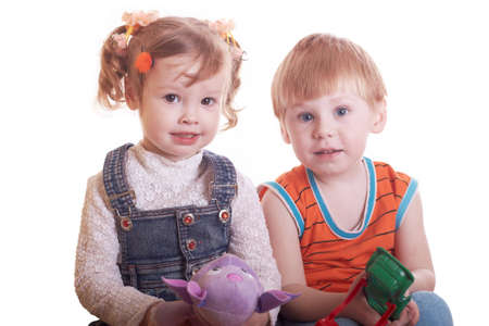 Portrait of the boy and the girl on a white background