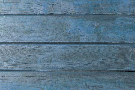 Texture old blue wooden background. The old painted wall. Background from natural horizontal boards of blue color. 写真素材