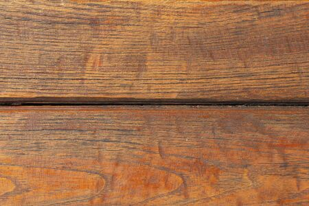 Background of two brown wooden horizontal boards close-up. Wooden light brown boards, texture for design. Resinous wood, scratched natural wood. 写真素材 - 134447153