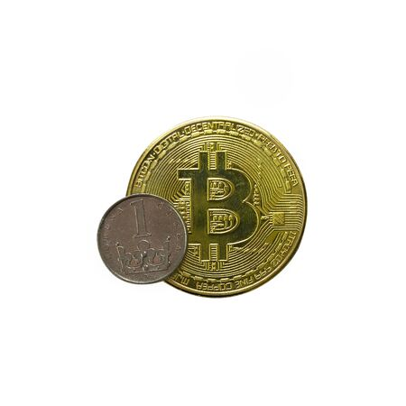 Bitcoin cryptocurrency gold coin with Odin coin. Czech koruna. Bitcoin to Czech currency depreciation concept. Isolated on a white background.