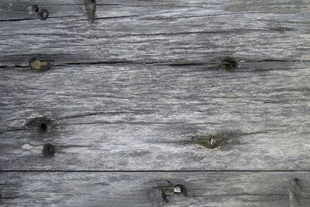 Texture of old wood plank closeup. Harvesting texture for design. Background from a textural gray board with holes. 写真素材