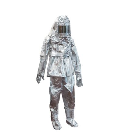 Suit color silver fire protection, protects the firefighter from high temperatures. In extreme temperature fires. Mannequin isolated on a white background. Stock fotó