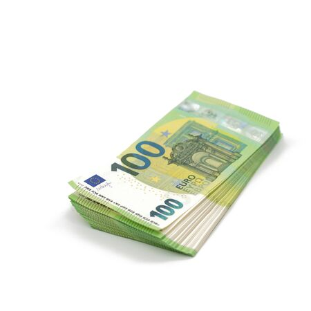 A pack of notes 100 hundred euros. European currency. Square isolated on a white background.