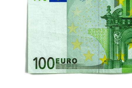 One hundred 100 euros in one banknote close-up. Part of the money of the European currency on a white background.