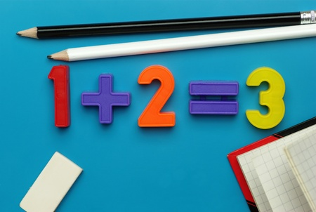 equals: Simple math - one plus two equals three with child Stock Photo