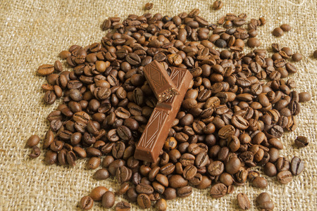 large bean: chocolate and coffee bauns on the texture of the bag from the fibers