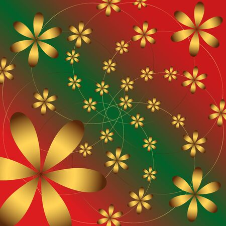 10eps: Vector floral gold Golden grid pattern on the red green background