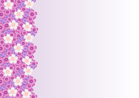 Vector bright background with a pattern of lilac, purple, white flowers of lilac on the left.