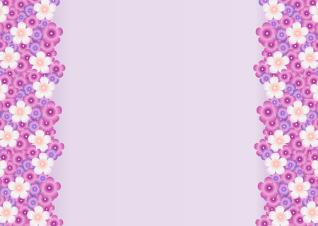 sides: Vector bright background with a pattern of lilac, purple, white flowers of lilac on the sides