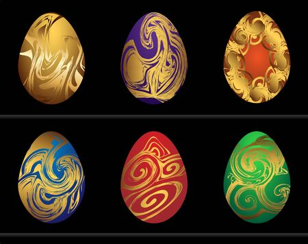 Easter eggs assorted colors with gold painted. Vector illustration.