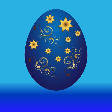 sprockets: Easter egg blue with a gold pattern on a blue background. Vector illustration. Illustration