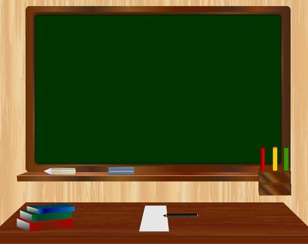 Commission scolaire vert devant une table avec des livres, feuille de papier vierge et un crayon sur un fond en bois. Vector illustration Vecteurs