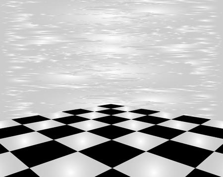 Zwart en wit schaakbord in perspectief op een witte achtergrond.